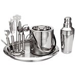 Hammered Stainless Steel Bar Set