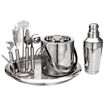 Hammered Stainless Steel Bar Set - Image 1 of 8