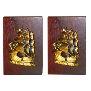 Pair of Brass & Wood Sailing Ship Book-Ends