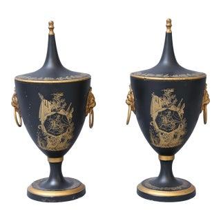 Italian Tole Urns, A Pair