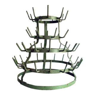 1940s French Green Bottle Drying Rack