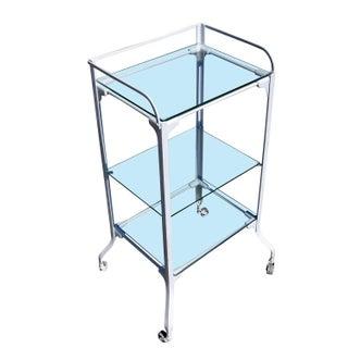WWI Era Enameled Iron Medical Cart & Glass Shelf