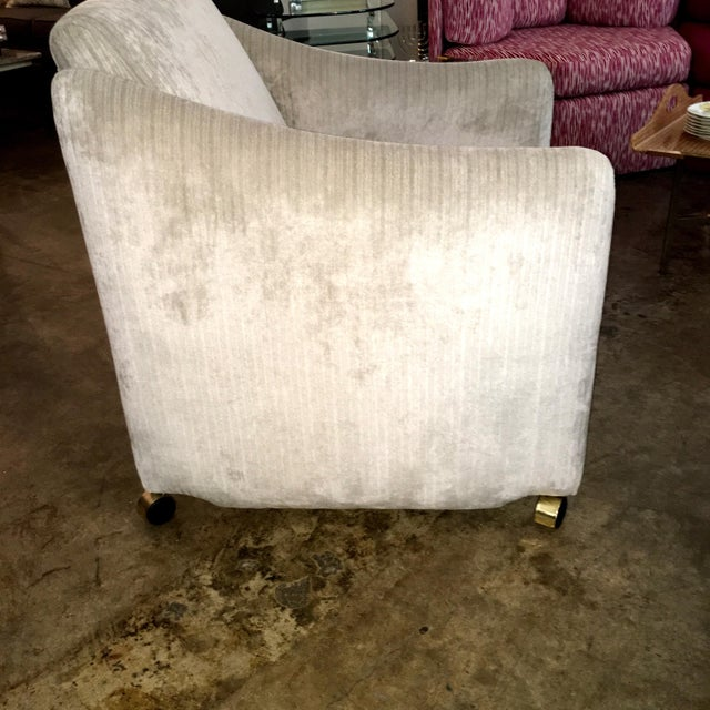 Pair of Milo Baughman Lounge Chairs on Casters Newly Upholstered in Velvet - Image 5 of 8