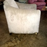 Image of Pair of Milo Baughman Lounge Chairs on Casters Newly Upholstered in Velvet