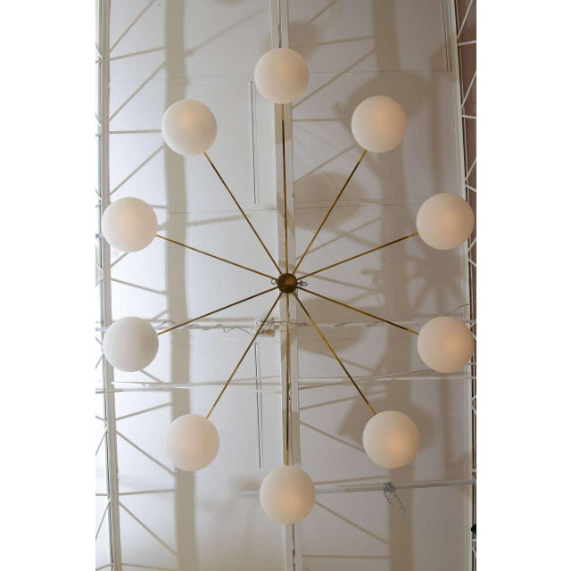 Mid-Century Modern Ten-Opaline Shade Chandelier in the style of Arredoluce - Image 3 of 10