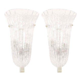 Venini Murano Ice Glass Italian Wall Sconces - A Pair