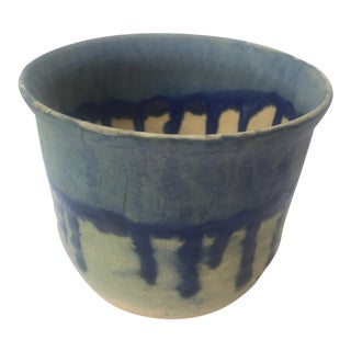 California Modern Pottery Blue Drip Glaze Bowl