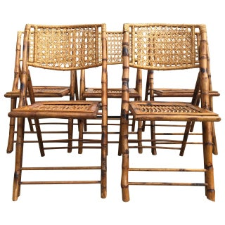 Scorched Bamboo Frame Folding Chairs - Set of Five