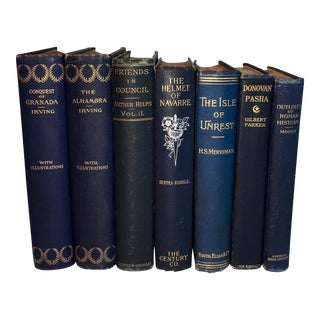 Antique Display Books in Blue - Set of 7