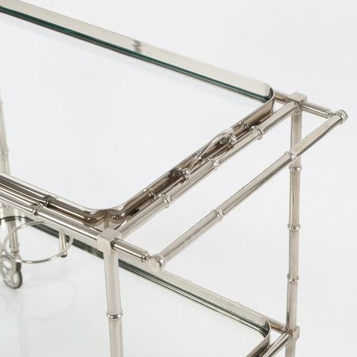 1960S SWEDISH POLISHED-NICKEL, FAUX-BAMBOO BAR CART ON CASTERS - Image 3 of 10