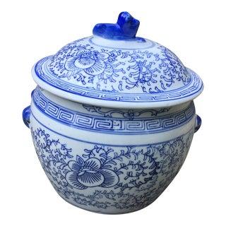 Blue White Chinese Foo Dog Covered Ginger Jar