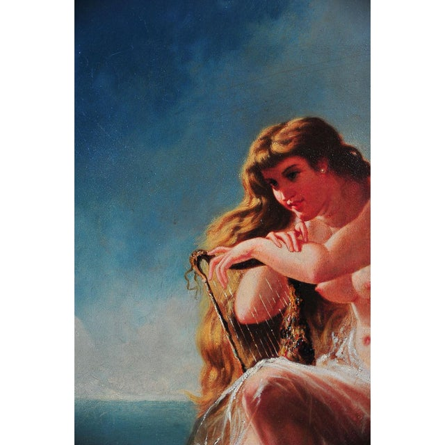 """""""Siren Looking at Sea"""" - 19th Century Oil Painting - Image 4 of 9"""