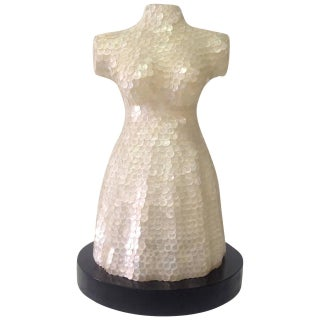Capiz Paillette Dress Form Table Lamp