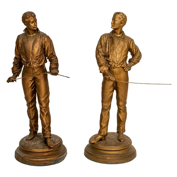 Antique French Charles Masse Fencing Figures - Two - Image 1 of 7