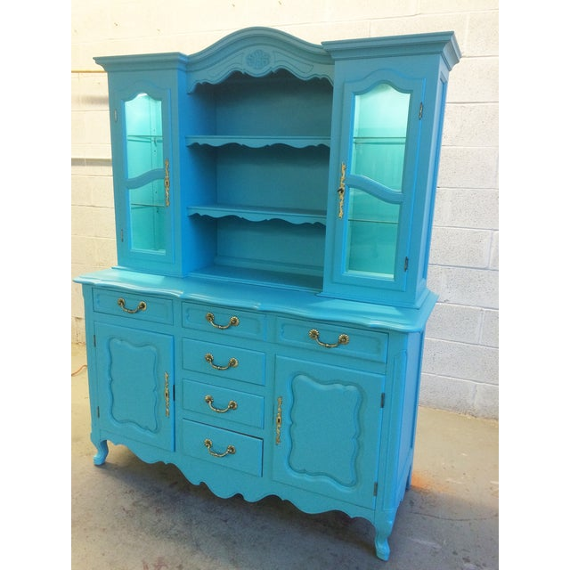 American Turquoise Chippendale Style Oak Hutch - Image 3 of 10