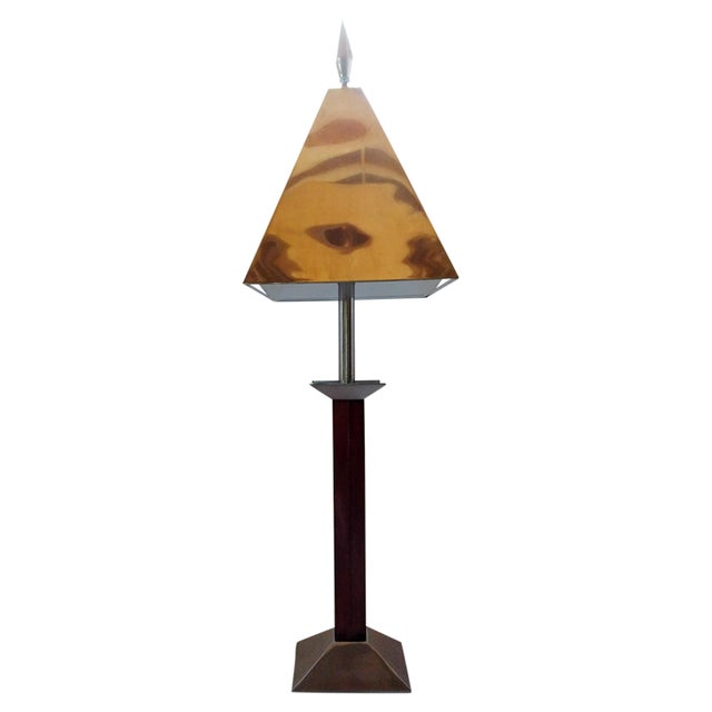 Image of Wood & Metal Lamp with Spear Finial