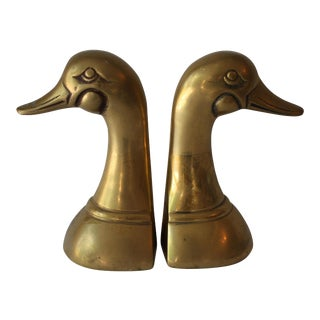 Mid-Century Brass Duck Bookends - A Pair