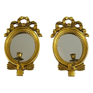 Gustavian Style Mirrors with Candlesticks - A Pair