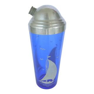 1950s Vintage Cobalt Blue Glass Sailboat Theme Cocktail Shaker