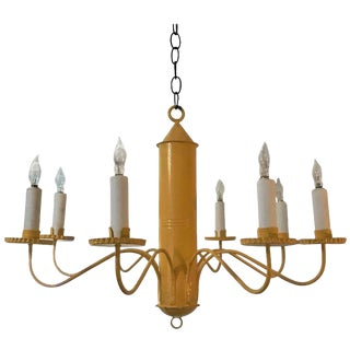 Mid-Century Buttercup Yellow Barrel Chandelier