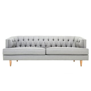 Clad Home Curved Frame Gray Tufted Sofa