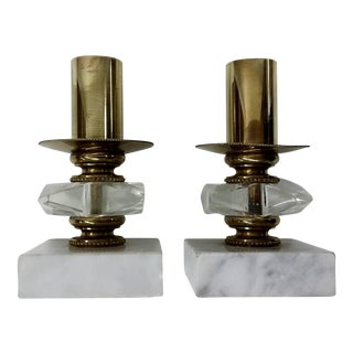 Vintage Candle Holders Brass & White Marble - Pair