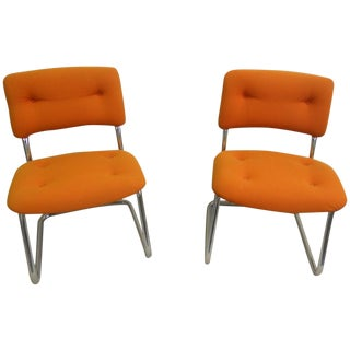 Midcentury Steelcase Orange & Chrome Chairs - Pair