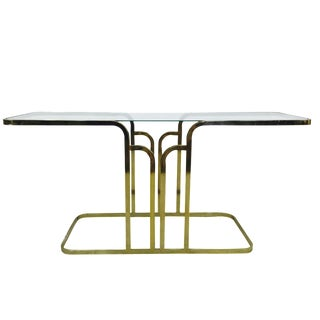 Mid-Century Brass & Glass Console Table