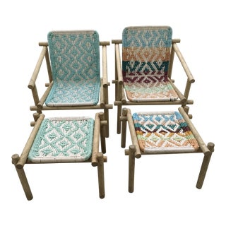 Saint Tropez Wood & Rope Chairs & Ottomans - A Pair
