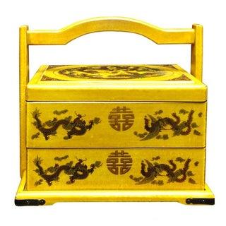 Yellow Wedding Box with Asian Motifs