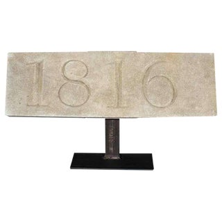 Architectural Stone Date Block Mounted on a Metal Stand