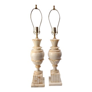 Vintage Italian Alabaster Lamps - A Pair