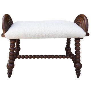 English Bobbin Turned Shearling Upholstered Bench