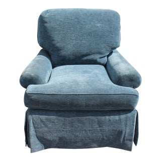 Mid-Century Modern Plush Blue Lounge Chair