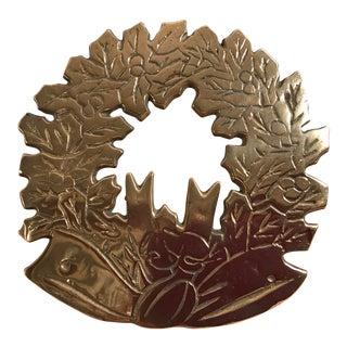 Mid Century Brass Holiday Wreath Trivet
