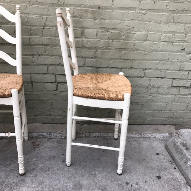 Painted Barstools with Rush Seats -- Set of 3 - Image 5 of 6