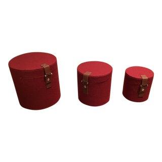 Pomegranate Felt Round Boxes - Set of 3