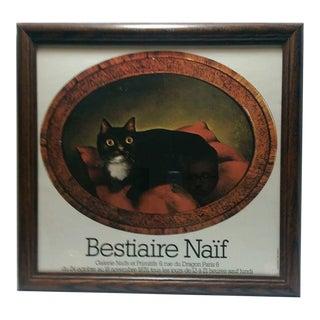 Bestiaire Naïf Framed Cat Print