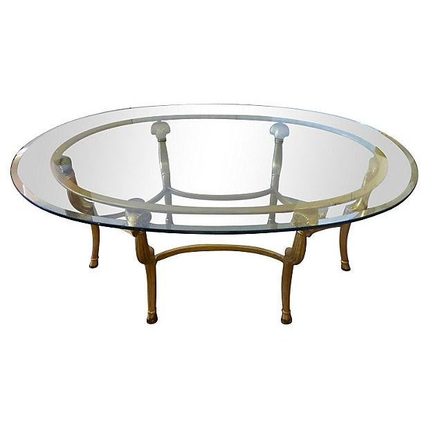 Gold metal glass oval coffee table chairish Gold metal coffee table