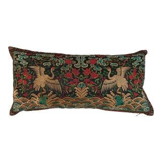 Chinoiserie Black & Turquoise Silk Crane Boudoir Pillow