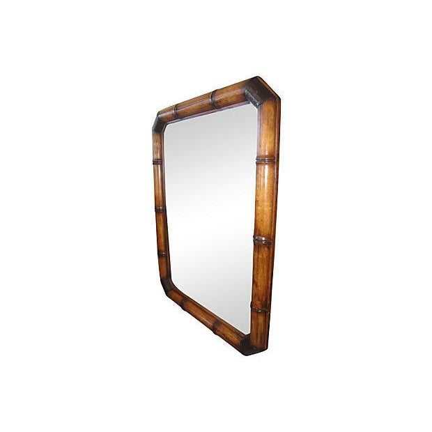 McGuire Faux Bamboo Wood And Leather Mirror - Image 3 of 6