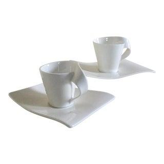Villeroy & Boch New Wave Porcelain Espresso Cups & Saucers - A Pair