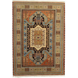 Hand Knotted Wool Indian Rug - 5′9″ × 8′