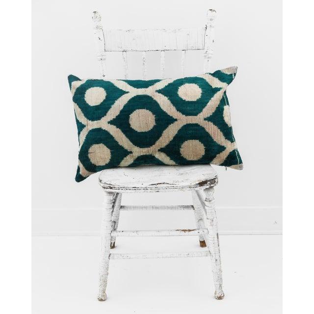 Green Silk Velvet Ikat Pillow - Image 2 of 3