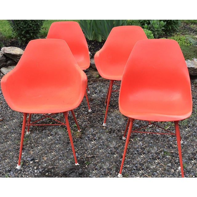 Vintage Orange Chairs - Set of 4 - Image 2 of 9