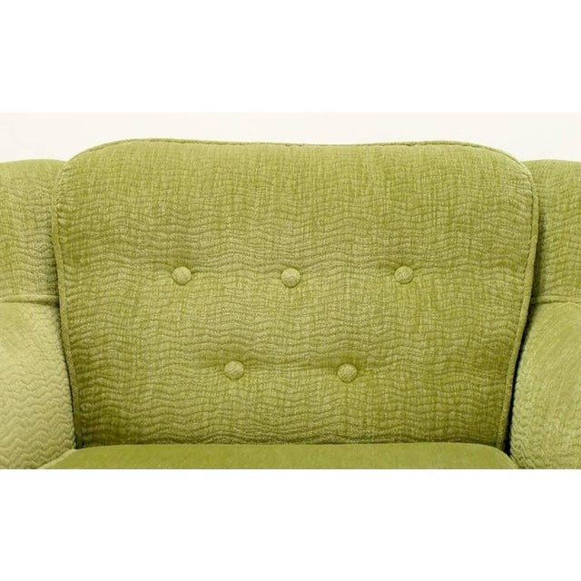 Image of Pair of Pistachio Green Chenille Button-Tufted Low Barrel Back Wing Chairs
