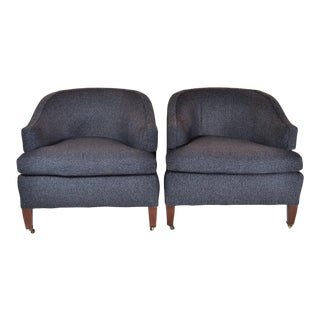 Pair of 1950s Baker Barrel-Back Lounge Chairs