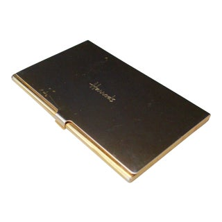 Harrods London Gold Compact Business Card Case