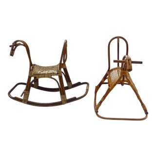 Mid-Century Danish Modern Swedish Rocking Horses - A Pair