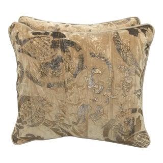 Stenciled Golden Velvet Pillows - A Pair